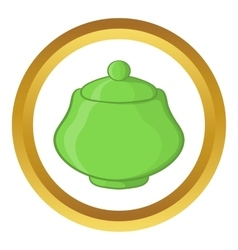 Green ceramic sugar bowl icon vector
