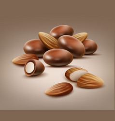 Handful of almond nuts vector