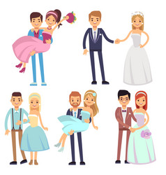 happy smiling wedding couples isolated set vector image