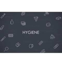 Hygiene thin line icons vector
