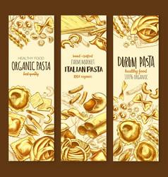 Italian cuisine pasta and spaghetti sketch banner vector