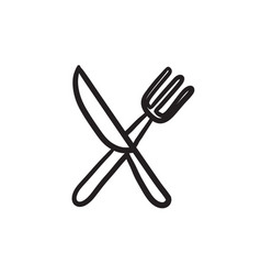 Knife and fork sketch icon vector