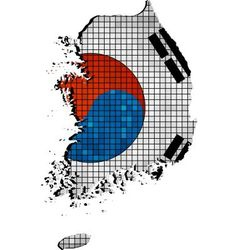 Korea map with flag inside vector
