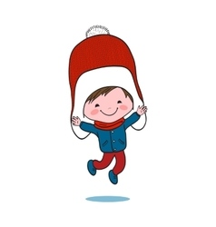 Little jumping boy in big winter knitted cap vector image