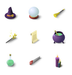 magic icons set isometric style vector image vector image