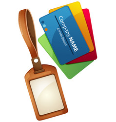 Name tag design with leather case vector
