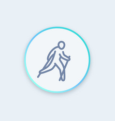 Nordic walking icon in linear style vector