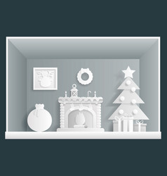 Paper art cristmas room new year house greeting vector