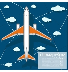 Passenger air transportation banner with plane vector