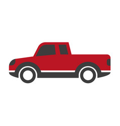 Red car pick up in cartoon style flat design vector