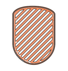 rounded shield in colored crayon silhouette and vector image