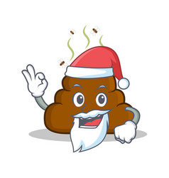 Santa poop emoticon character cartoon vector