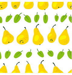 seamless pattern with fresh yellow pears vector image vector image