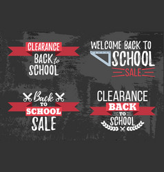 Set of clearance sale school typographic vector
