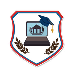 Shield emblem with graduation cap and laptop vector