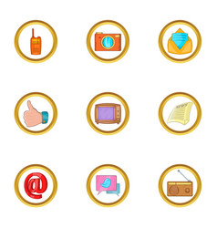 Social icon set cartoon style vector