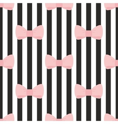 Tile black white pink pattern with bows vector image vector image
