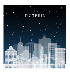 Winter night in memphis night city in flat style vector
