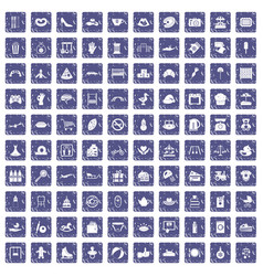 100 mother and child icons set grunge sapphire vector