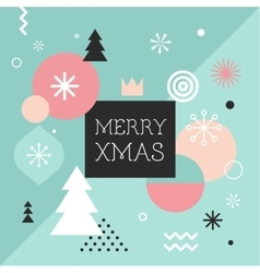 Merry Christmas geometric scandinavian style vector image