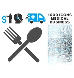 Fork and spoon icon with 1000 medical business vector