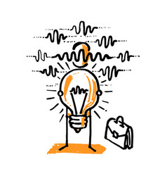 Business man shows his idea light bulb vector
