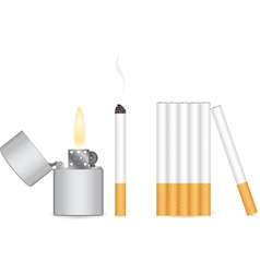 Cigarette and lighter vector