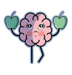 Icon adorable kawaii brain eating apple vector