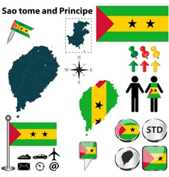 Sao tome and principe map vector