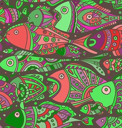 seamless pattern with a lot of Fishes vector image