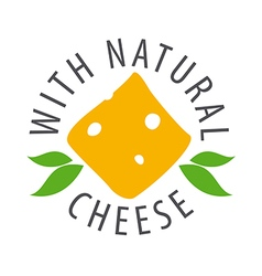 Logo slice of cheese and leaves vector