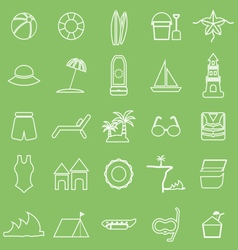Beach line icons on green background vector