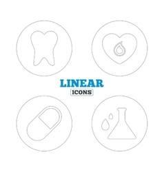 Medical icons pill tooth chemistry and heart vector