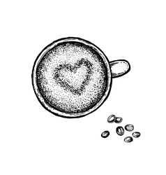 Black and white hand drawn coffee cup vector image