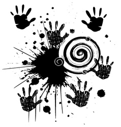 Ink hands grunge splat vector