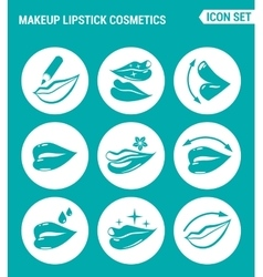 Set of round icons white makeup lipstick vector