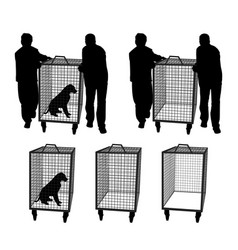 Animal control officers with dog in cage or empty vector