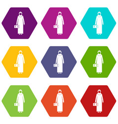 Arabic woman icon set color hexahedron vector