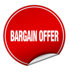Bargain offer round red sticker isolated on white vector