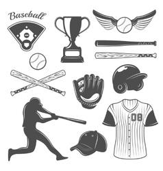 Baseball monochrome elements set vector