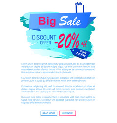 Big sale discount offer -20 landing page vector