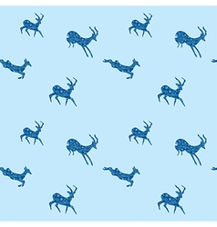 Blue seamless background with blue goats vector