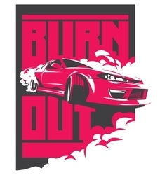 Burnout car Japanese drift sport JDM vector image vector image