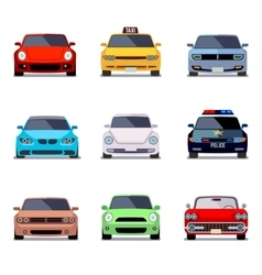 Car flat icons in front view vector