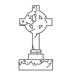celtic cross gravestone icon outline style vector image