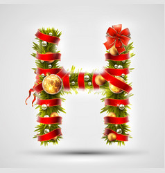 christmas font letter h of christmas tree vector image vector image