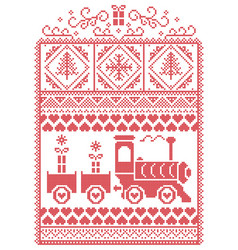 Christmas pattern with gravy train vector