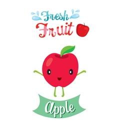 Cute cartoon of apple fruit banner logo vector
