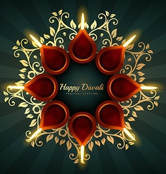 Diwali greeting background design with floral vector