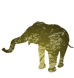 elephant isolated Silhouette natural green vector image